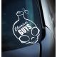 "Наклейка с логотипом Chemical Guys Small ""CHEMICAL GUYS"" Skull (6""x6"")- Black & Red W/ chrome Boarder"