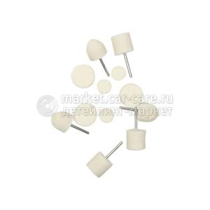 Насадка-войлок для полировки алюминия, хрома и стекла AuTech - комплект 12 предметов