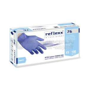 Reflexx Резиновые перчатки, нитриловые, синие, Reflexx R76-L. 3,5 гр. Толщина 0,07 мм.