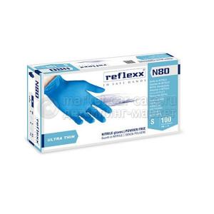 Reflexx Резиновые перчатки, нитриловые, синие, Reflexx N80B-M. 3 гр. Толщина 0,06 мм.