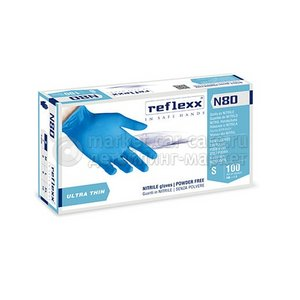 Reflexx Резиновые перчатки, нитриловые, синие, Reflexx N80B-L. 3 гр. Толщина 0,06 мм.