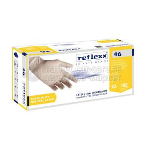 Reflexx Одноразовые перчатки латексные 24 см. Reflexx R46-M. 5 гр. Толщина 0,1 мм.
