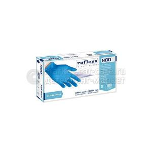 Reflexx Резиновые перчатки, нитриловые, синие, Reflexx N80B-S. 3 гр. Толщина 0,06 мм.