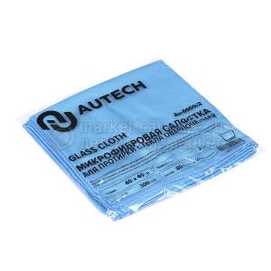 AuTech Салфетка для стекол 40х40 см, голубая, 300гр, комплект 2 шт.