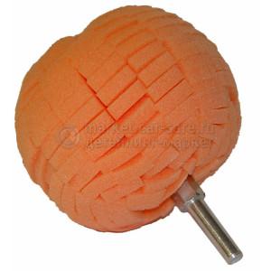 Шарообразная насадка LakeCountry для полировки средней жесткости оранжевая, d76mm