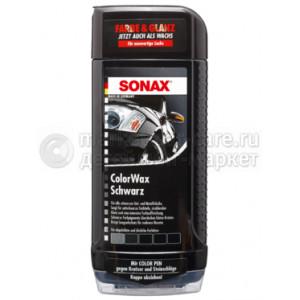 """Цветной воск Sonax """"Черный блеск"""" + карандаш (черный), 0.5л"""