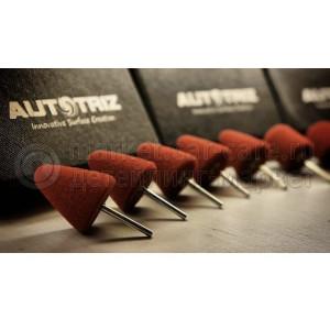 Полировальный круг AutoTriz поролоновый бордовый конусный на штифту, 23*20мм