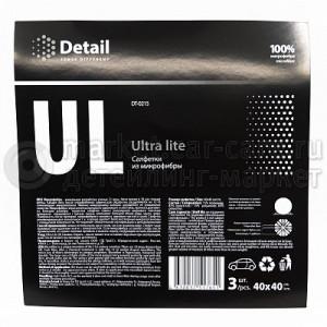 Микрофибра белая Detail UL (Ultra Lite), 40x40см, 3 шт.