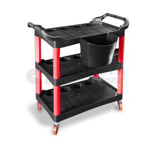 Пластиковый стол на колесиках с боковым ведром. Место полировщика