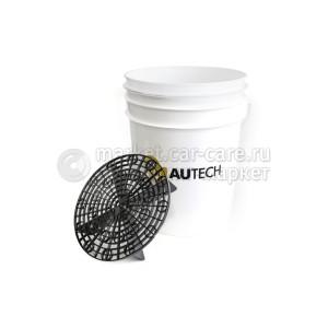 Ведро AuTech для мойки автомобиля с пескоотделителем (белое)