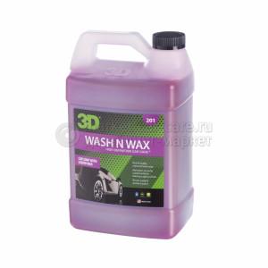 Шампунь с воском 3D WASH N WAX, 3.78л