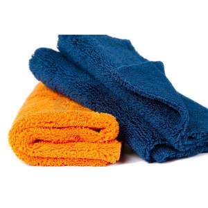 Полотенце микрофибровое 40x40 с УЗ обрезкой, 400 гр., оранжевоетемно-синее, набор 2 шт.