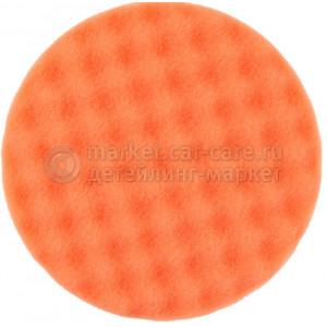 Рельефный поролоновый полировальный диск средний оранжевый 150 мм.