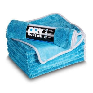 Dry Monster Синяя микрофибра для сушки с оверлоком 55x75см 560гр/м
