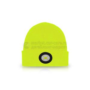 Шапка с фонариком желтая UNILITE 150 Lm USB